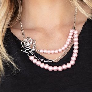 Pink Pearl Floral Necklace Earring Set NWT